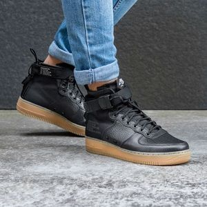 🦋 NIKE AIR FORCE 1 Mid Sneakers Black Boots Like